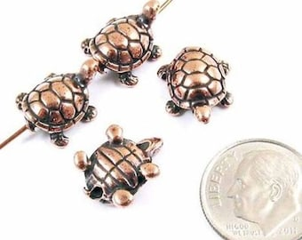 TierraCast Pewter Beads-ANTIQUE COPPER TURTLE (4)