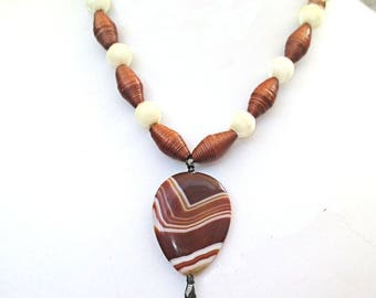 Gemstone Necklace, Teardrop Pendant Necklace, Brown Caramel Bohemian Necklace, Paper Bead Necklace, Silk Bead Jewelry, 18in or longer