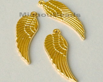 25 GOLD 30mm ANGEL Wings - 30x9mm Double Sided Archangel Feather Wing - Nickel Free Metal Charm Pendant - Instant Ship - USA Seller - 5579