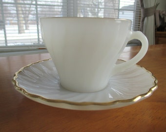 Fire King Shell cup and Saucer with 22ct gold trim
