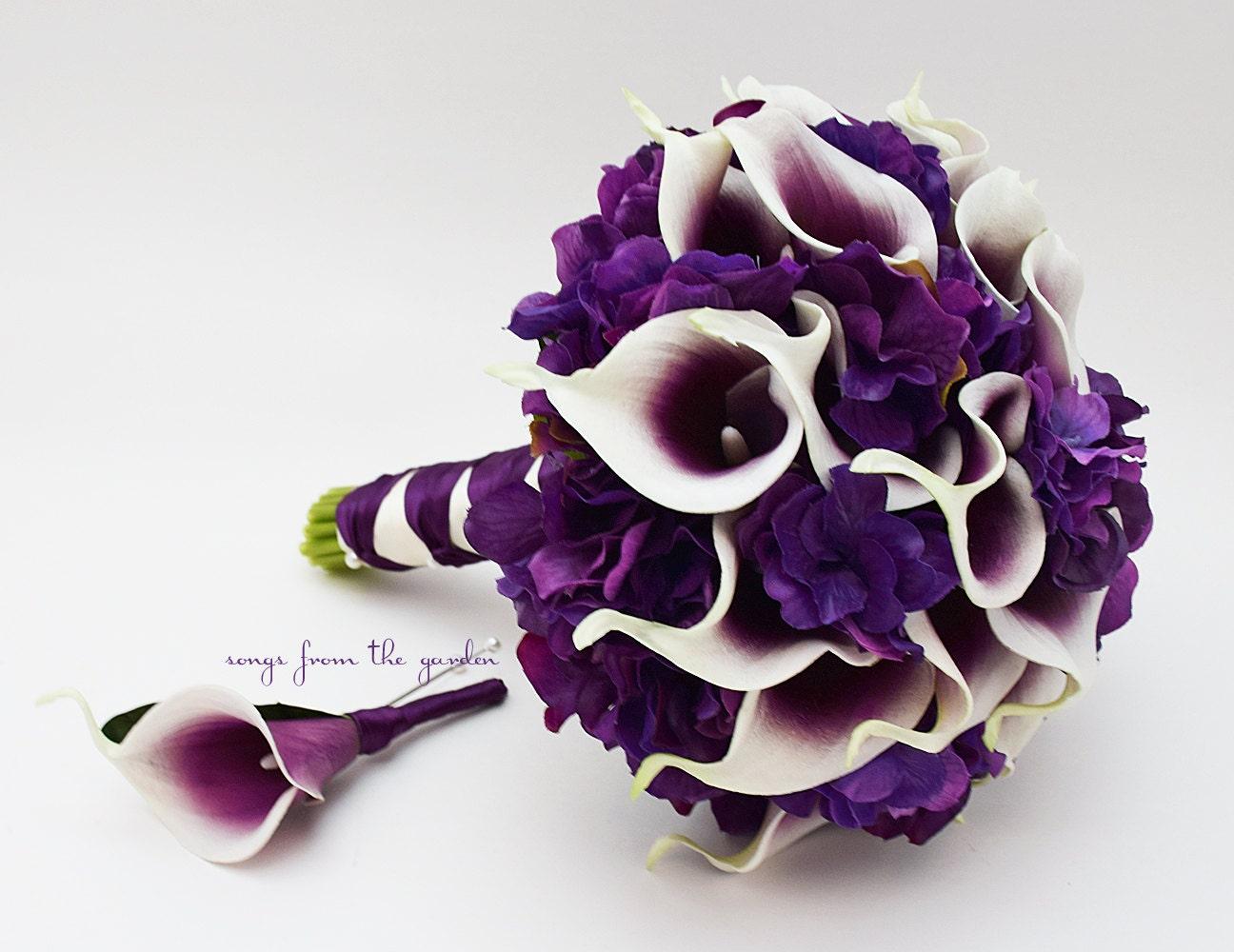 Real Touch Picasso Calla Lily Purple Hydrangea Bridal Bouquet