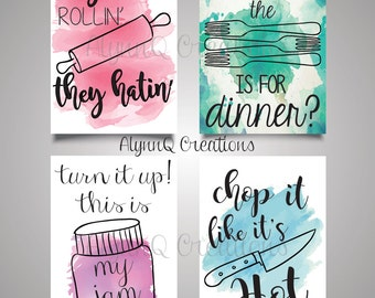 """Kitchen Bundle""""They See Me Rollin' They Hatin""""-""""What the Fork is for Dinner""""-""""Turn It Up! This is My Jam""""-""""Chop It Like It's Hot"""" Printables"""