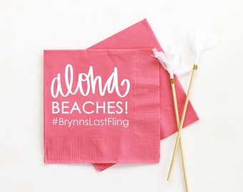 Aloha Beaches Personalized Paper Napkins Beach Bachelorette Party Supplies Custom Printed Cocktail Napkins Tropical Bachelorette Party Ideas