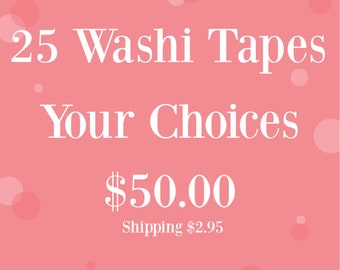 Buy 25 Assorted Washi Tapes - 10m Whole Roll - Your Choices - Erin Condren  - Planner - Bujo Journal - Love My Tapes