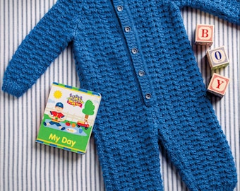 Baby Cable and Rib romper  vintage knitting pattern -Immediate download
