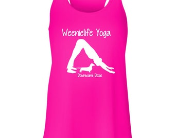 Weenielife Yoga pose Downward Doxie Racerback Tank