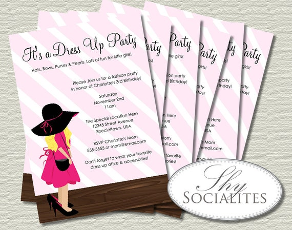 Dress up party invitations little girl accesories fashion stopboris Image collections