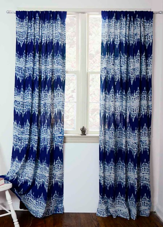 Blue Indigo Navy Ikat Printed Window Curtains Block Print