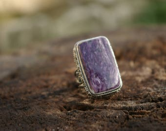 Charoite ring size 56-55 or (7.75 & 7.5 US) stone of spiritual growth and acceptance.