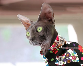 Cat Clothes Dia De Los Muertos Print Clothing for Sphynx Cats.  Soft jersey fabric with choice of style and sleeves.  Supermodel Bella