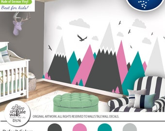 Pink Turqouise Mountains Wall Decal for Nursery, Kid room. High quality removable sticker - eagles, pine trees, clouds. Adventure decal d576