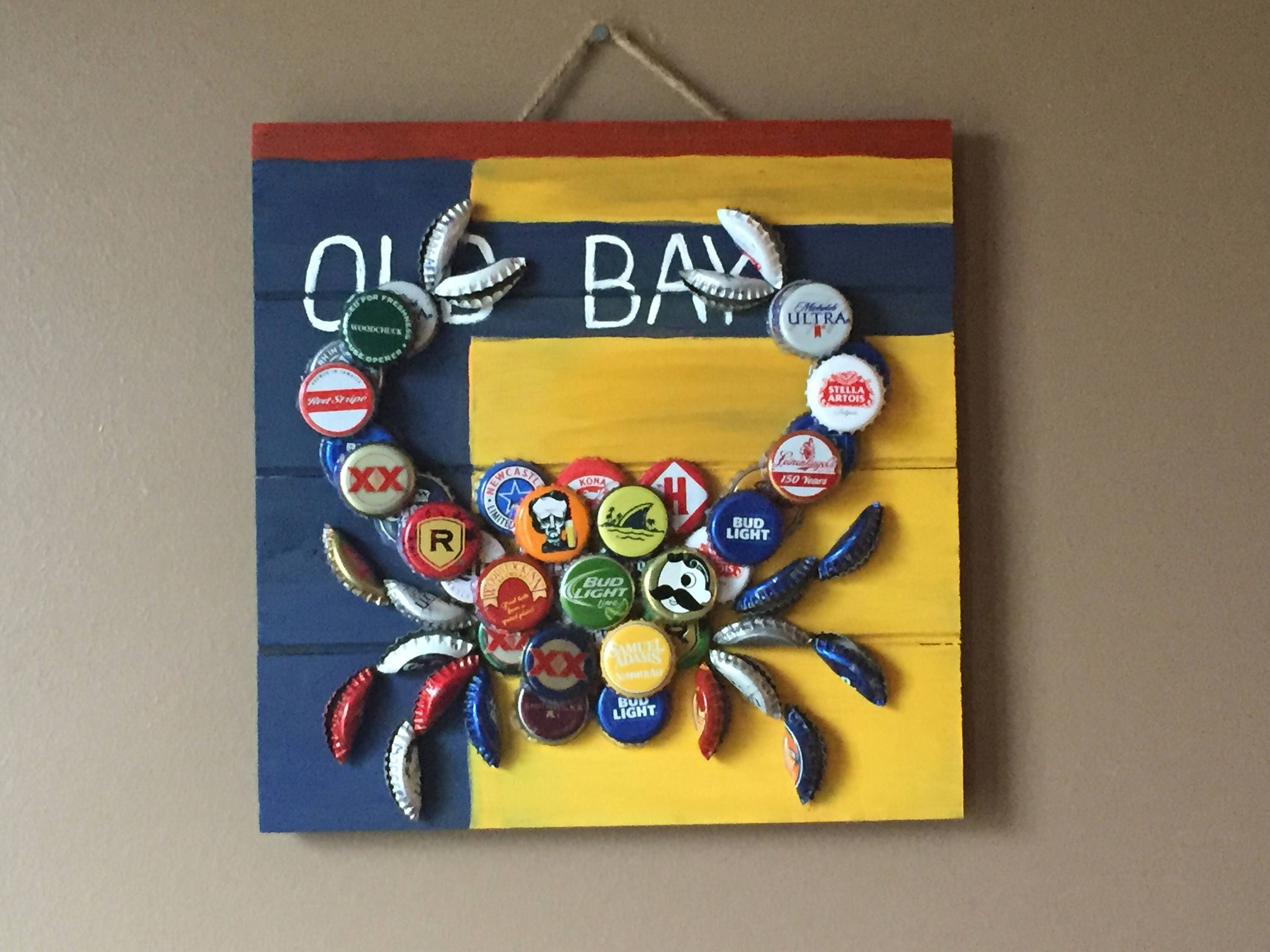 Old Bay Bottle Cap Crab On 10x10 Hand Painted Wood Pallet