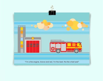 FIRE ENGINE - Children's / kid's / baby's personalised print - Children's wall art - Baby's bedroom wall art - Child's gift