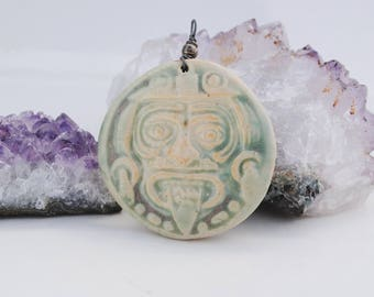 ceramic aztec pendant, clay necklace, mayan focal bead, mexican jewelry