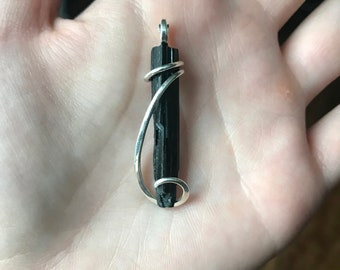Black tourmaline crystal in sterling silver pendant