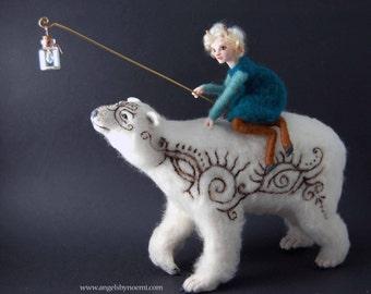 Moon Rider - Polar Bear and Faun - Fantasy Sculpture - Figurative Art - OOAK Art Doll