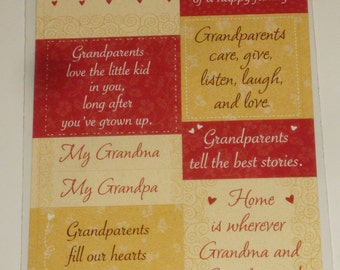 NEW ~ Scrapbooking Stickers Grandparents Card Embellishments