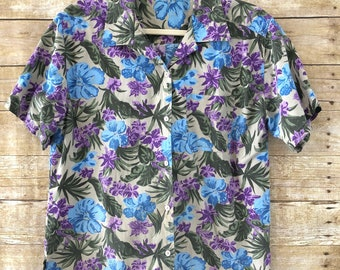 Vintage Womens Hawaiian Shirt, Soft Floral Shirt, hawaiian shirts, Vintage Hawaiian shirt, Large, XL
