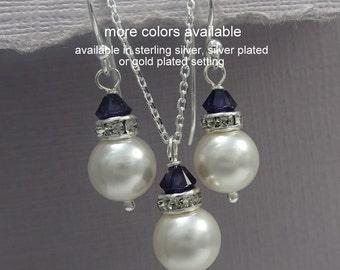 Blue Jewelry Set, Blue Wedding Jewelry, Dark Blue Jewelry, Navy Jewelry Set, Navy Wedding Jewelry, Bridal Party Jewelry, Bridesmaids Gift