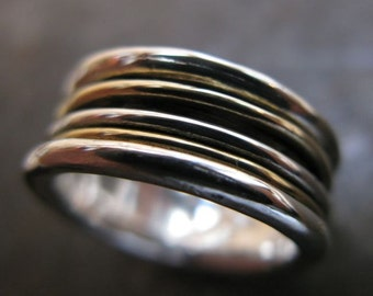 Gold Brass Silver Spinner Ring