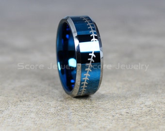 FREE SHIPPING FREE Custom Engraving 8mm Blue Tungsten Band with Beveled Edge Baseball Stitch Pattern Ring- 8mm Tungsten Wedding Ring