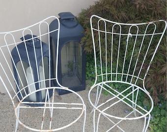 SOLD - Vintage Retro Atomic Chair Set - Wrought Iron Metal Patio Set - Matching Vintage - Outdoor Garden Spring Summer
