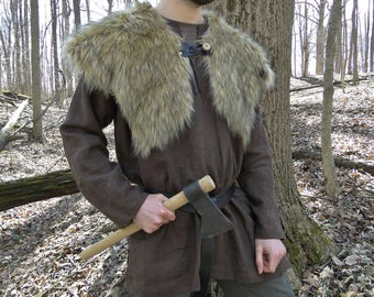 Viking Fur Capelet, Mantle - Medieval, Barbarian, Renaissance - Large Faux Fur Choose Color