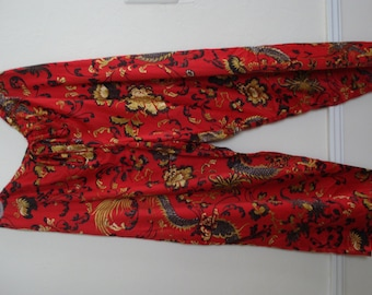 VINTAGE NATORI Lounge PANTS. Never worn, with Tag. Bright Red, silky feel Asian inspired Pants. Size - L.