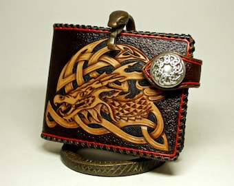 Hand-tooled mens leather wallet in Celtic style, carved wallet, tooled wallet, Celtic wallet, hand-tooled wallet, mens gift