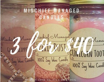 Three 16oz  Soy Wax candles for 40 Dollars