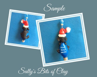 Solid Black Smooth Coat Dachshund Santa Dog Christmas Light Bulb Ornament Sally's Bits of Clay PERSONALIZED FREE with dog's name