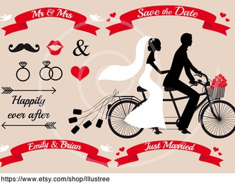 Wedding clip art, bride, groom, Mr & Mrs, save the date, just married, tandem bicycle, digital clipart set, invitation, instant download