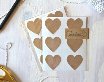 12 Large Rustic Kraft Heart Stickers | Envelope Seals | Kraft Stickers | Rustic Stickers | Wedding Envelope Stickers | Gift Wrap | Hearts
