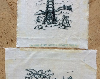 Vintage Embroidered Country Scenes