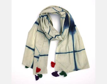Blue Tie and Dye Scarf