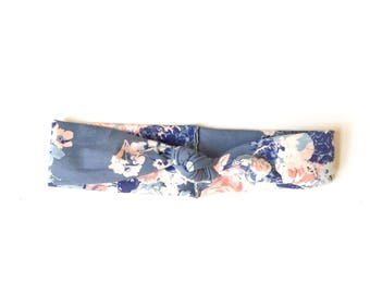 Teal Floral Wire Twist Bow Headband, Dolly Bow Headband, Women's Headband, Baby Headband