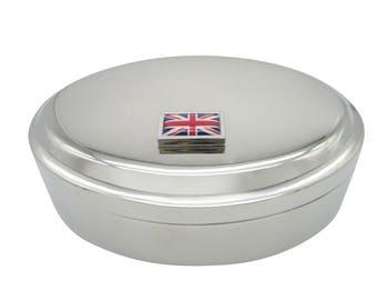 Thick Bordered United Kingdom Union Jack Flag Pendant Oval Trinket Jewelry Box