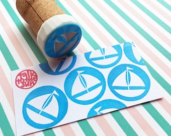 sailing boat rubber stamp | yacht sailboat stamp | summer nautical birthday father's day card making | diy | hand carved by talktothesun