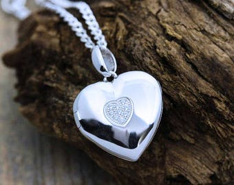Sterling silver heart Photo locket Necklace . Solid Sterling Silver Heart Shape Locket, Heirloom Locket .  (can be personalised/engraved) 46