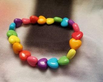 Rainbow Hearts Beaded Bracelet