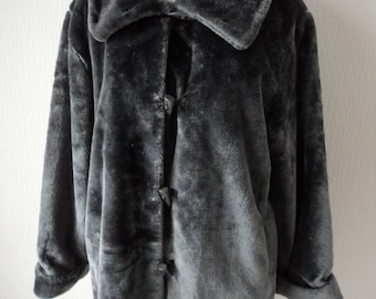 REDUCED - French Vintage Gabriella Vicenza grey faux fur lined jacket size UK 16-18 FR 46/48