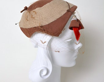 Vintage 1950s Hat 50s Caplet with Veil 1940s 40s New Look Brown and Tan