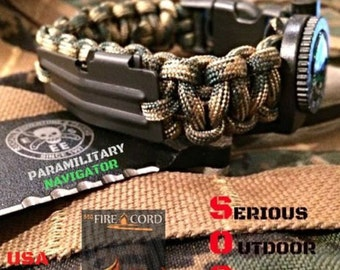 Paracord Survival bracelet EDC 550 Firecord / Compass / Handcuff Key / Flint Rod Fire Starter / P-51 USA Made