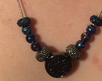 Hand beaded purple and blue glass bead necklace