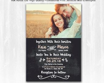 Chalkboard Wedding Invitation DIY PRINTABLE Chalkboard Rustic Wedding Invitation Photo Wedding Invitation Country Wedding Invitation Photo