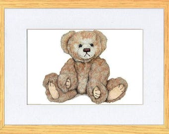 Shabby ChicCutie Pie Sitting Bear Picture Oak Framed Print Wall Art By Kevin Wood 2 Sizes Uk Artist