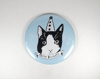 Birthday cat magnet, large button magnet with party hat