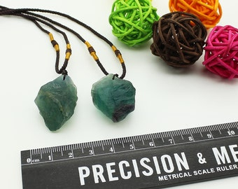 Natural Raw Fluorite Pendants with Necklace Rope/Healing Crystal Necklace/DIY Jewelry Making /#DZ-S80316P816