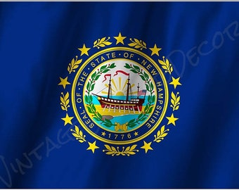 New Hampshire State Flag on a Metal Sign