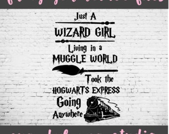 Wizard Girl - Harry Potter - Muggle - Hogwarts Express - SVG - PNG - DXF